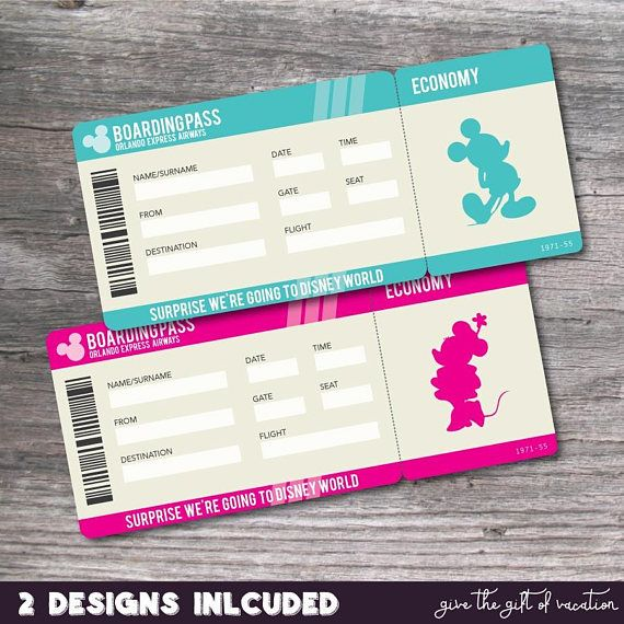 Let someone unwrap the magic of a Disney Vacation with these Printable PDF Tickets for Walt Disney World Trip. Simply complete the purchase and you will INSTANTLY have access to print your own Disney World Tickets. The boxes are left blank for you to handwrite in the corresponding