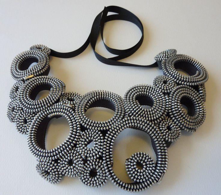 Silver Circles Zipper Necklace. $95.00, via Etsy.