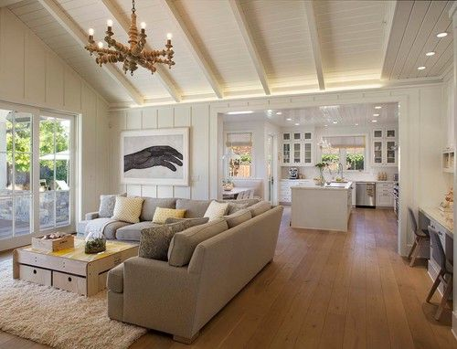 Beams, bright and yet cozy | Modern CA farmhouse. Modern Organic Interiors, Oakland, CA. Simpson Design Group.
