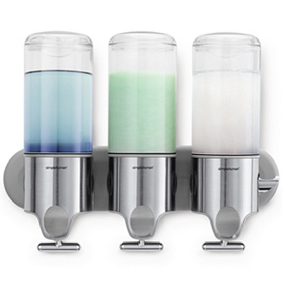 Twin Shampoo and Soap Dispenser: Wall Mount, Triple Wall, Mount Pumps, Shower, Wallmount, Soaps Dispenser, Products, Shampoos, Stainless Steel