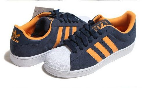 adidas superstar heren dames unisex blauw oranje, adidas