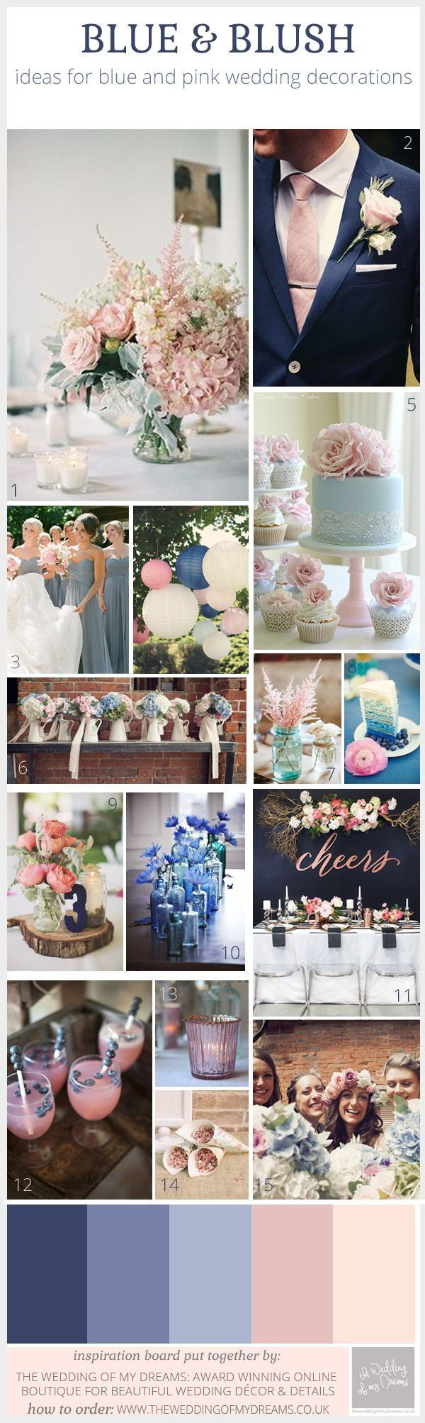 "What a gorgeous color scheme, ""Blue and Blush Pink"" wedding decorations"