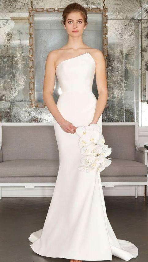 Mermaid wedding dress, simple long cheap wedding dress, backless weeding dress