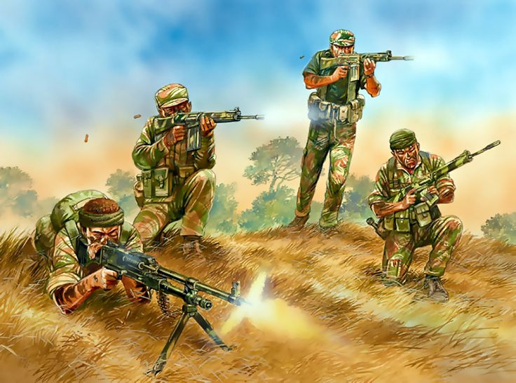 """""""Contact ! An RLI heliborne infantry platoon, 1978"""" Specifically this is a Stick, the basic unit of the Fireforce organization of the RLI. The Selous Scouts were also structured into Sticks, following the Fireforce plan."""