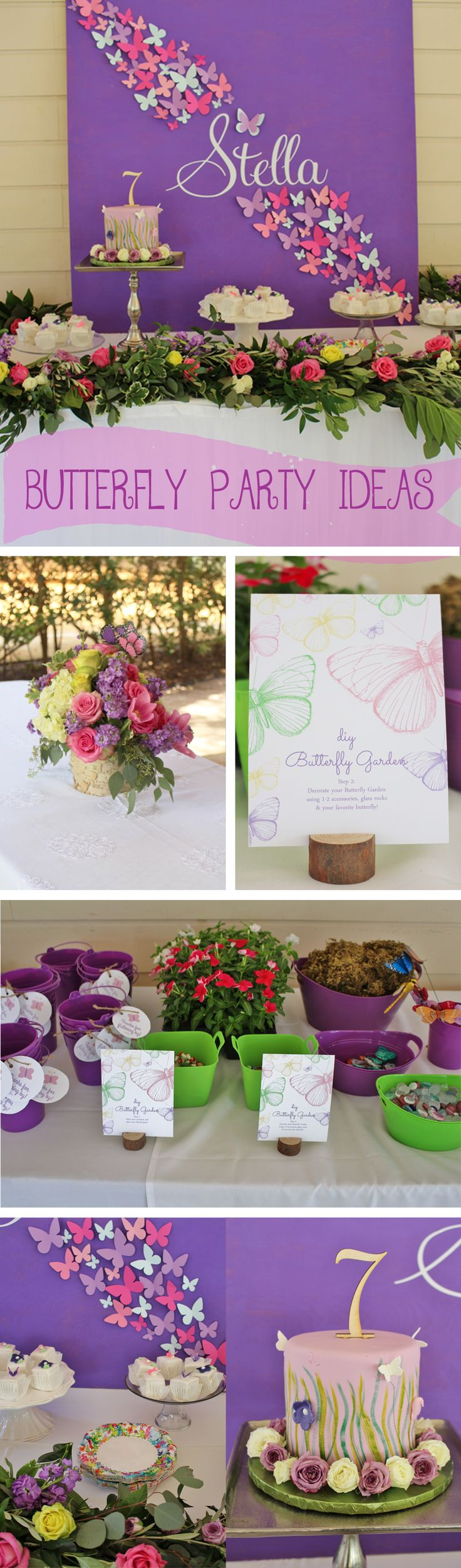 Butterfly Party, Butterfly Birthday Party, Butterfly Birthday Party Ideas, DIY Garden, Garden Party Favor Ideas, Floral Centerpieces,