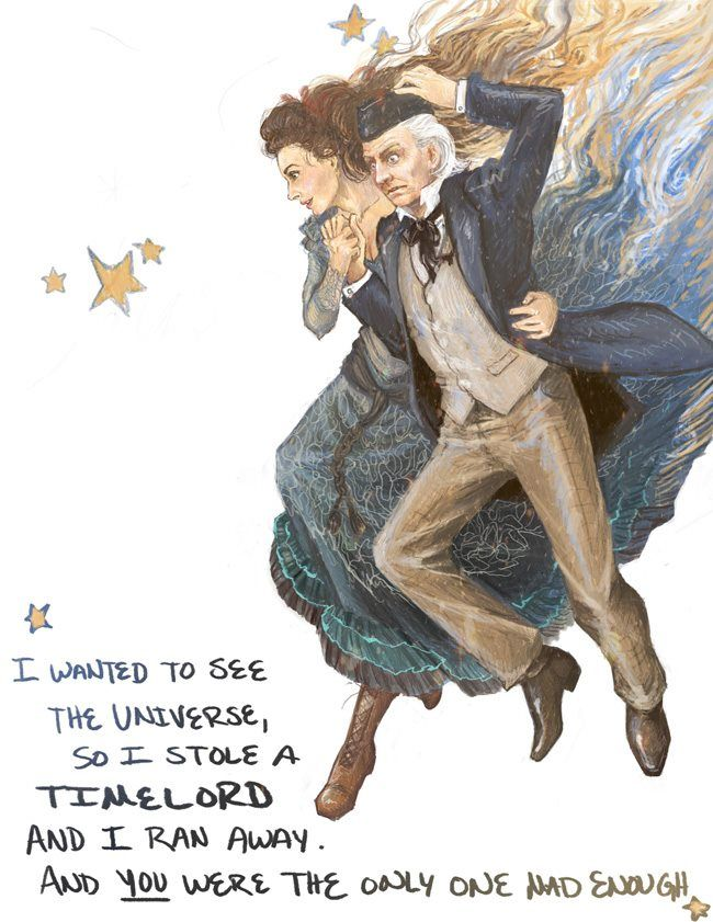 When most people hear that line they imagine the young doctor in his suspenders running into the TARDIS, but few imagine the fact that it was the first incarnation; he himself was an old man when he ran away.