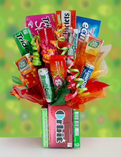 Candy bouquet w/orbit gum