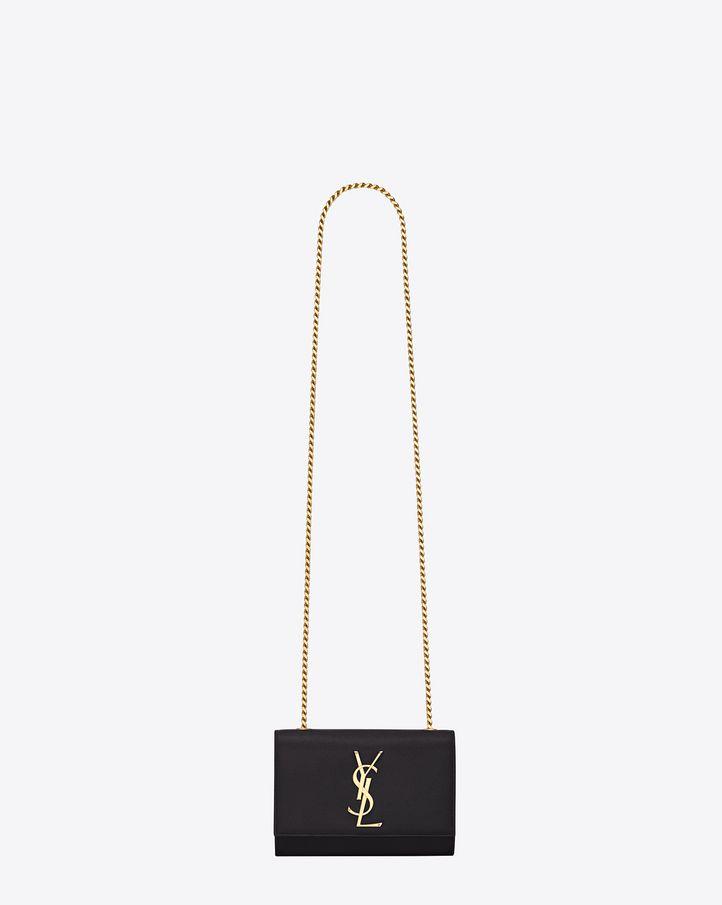 Saint Laurent Classic Small Monogram Saint Laurent Satchel In Black Grain De Poudre Textured Leather
