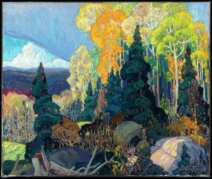 Autumn Hillside by Franklin Carmichael, 1920. Oil on canvas, 76 x 91.4 cm. ~via Arte Moderna, FB