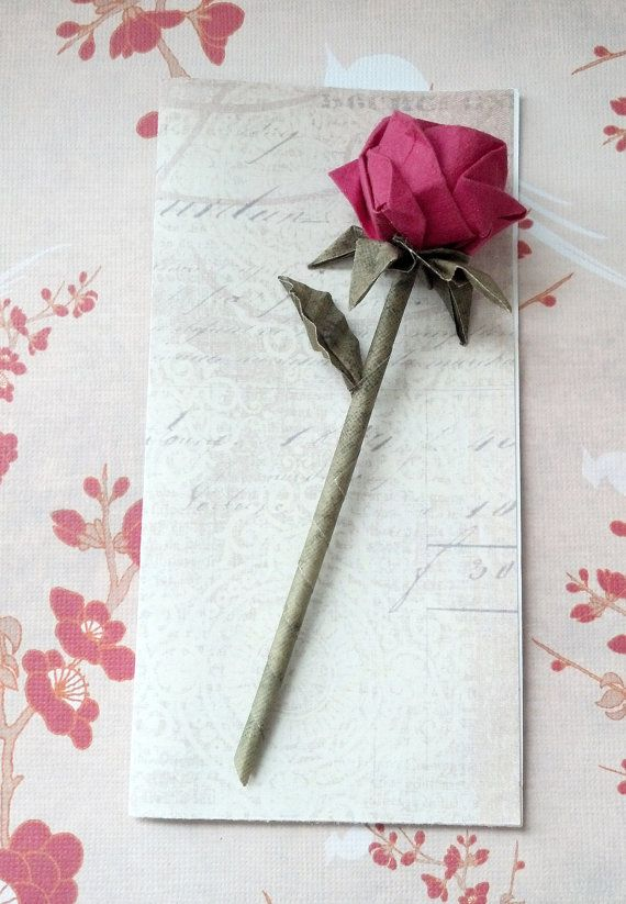 Origami rose greeting card handmade wedding