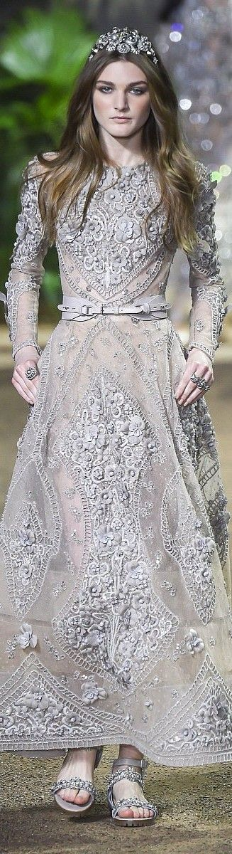 Unique pale grey gown. Elie Saab couture 2016 spring summer