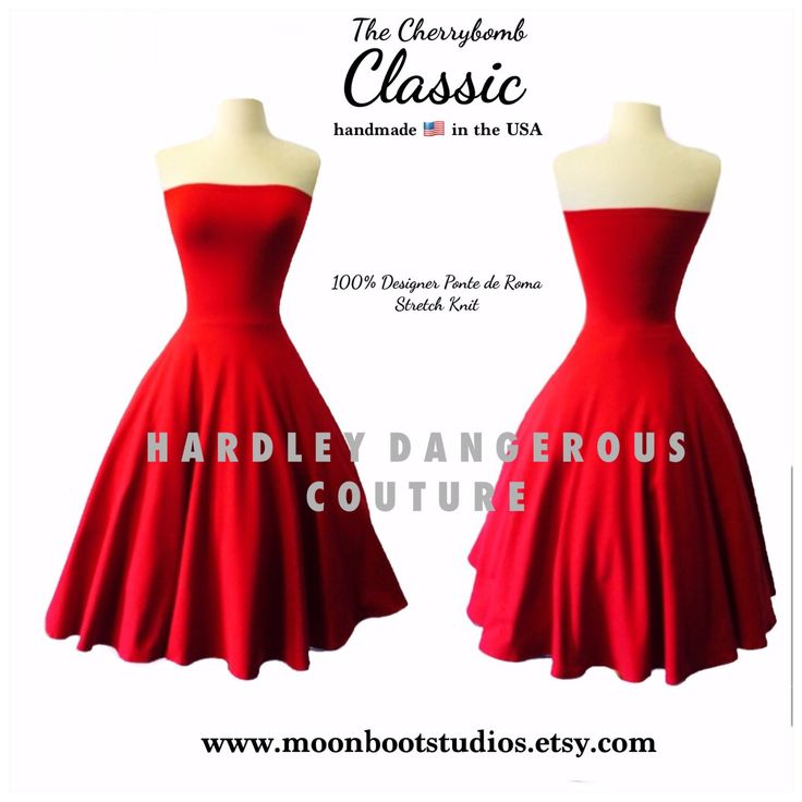Cherry Red Rockabilly Swing Dress, Strapless Bridesmaid Semi Formal Wedding Party Swing Dress, Scarlet Overkill HALLOWEEN, Custom Colors by MoonbootStudios on Etsy https://www.etsy.com/listing/207536020/cherry-red-rockabilly-swing-dress
