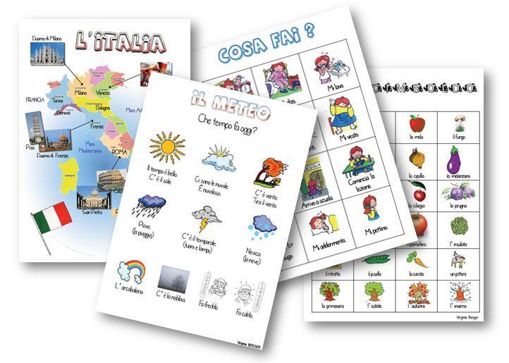 Des fiches pour l'apprentissage de l'italien en primaire
