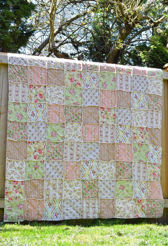 Shabby Chic Rag Quilt Rose Garden Twin Size by SeasonOfTheStitch,