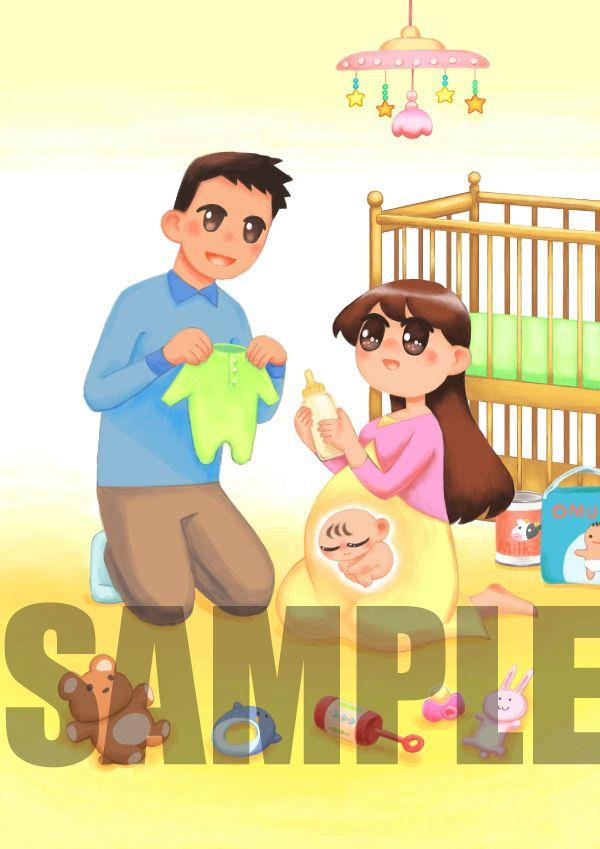 ●出産祝いの絵本「うまれるまでのはんぶんこ」のためのイラスト。(Photoshop ) ●イラストレーターの大塚友絵さん。 http://www.kinende.com/shopdetail/000000000176/