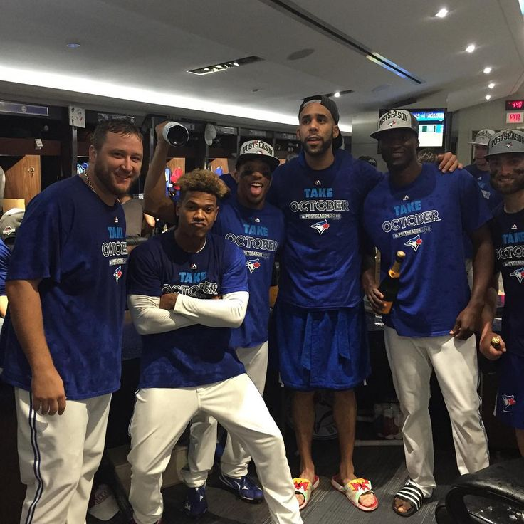 The Jays are celebrating their first post season berth since 1993(L-R Mark Buehrle, Marcus Stroman, Ben Revere, David Price, LaTroy Hawkins, Kevin Pillar)