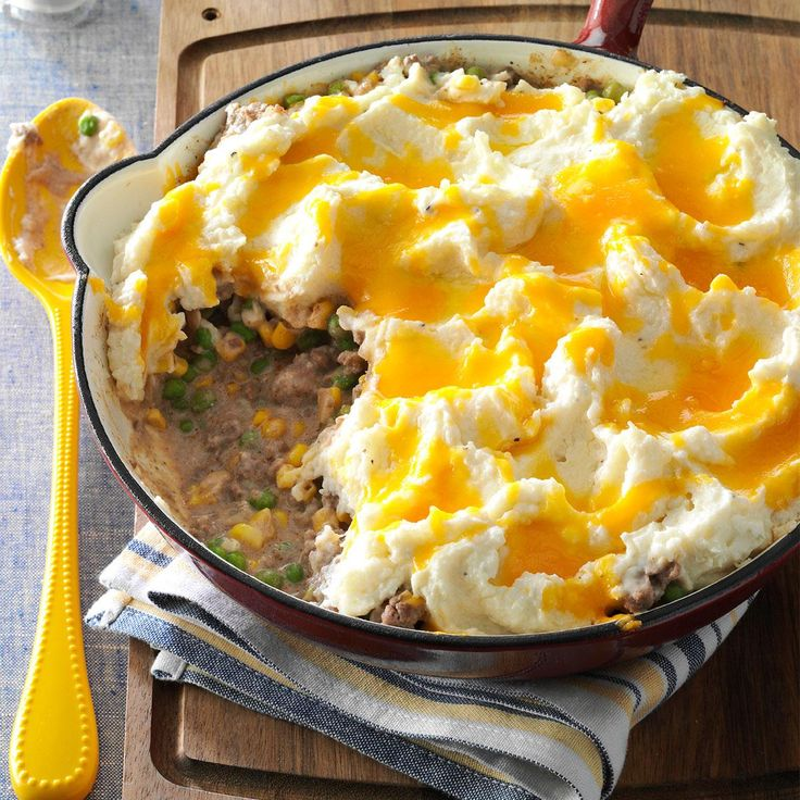 Skillet Shepherd's Pie Recipe -This is the best shepherd's pie I've ever tasted. It's very quick to make, and I usually have most—if not all—of the ingredients already on hand. —Tirzah Sandt, San Diego, California