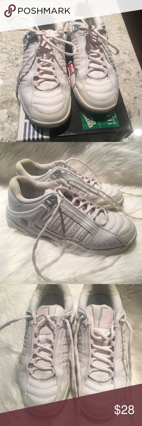 k-Swiss Tennis shoes🎾 Women's KSwiss Performance Tennis shoes, size 7.5,  white and Ice pink Tennis shoes, still a lot of use left, only worn a few times, just sat in box in closet, a little discolored  but nothing major.  Please see all pictures and ask any questions. Open to offers! K-Swiss Shoes Sneakers