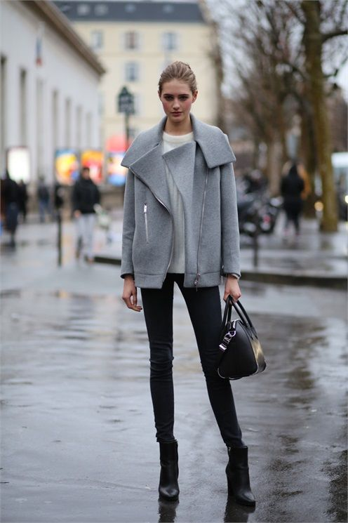 Short grey wool moto jacket with oversized collar