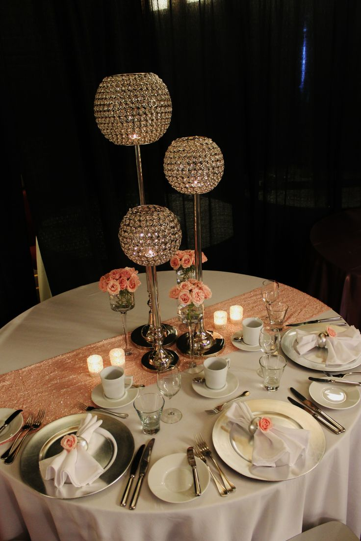 crystal table decorations for weddings centerpiece blush pink silver white 3208