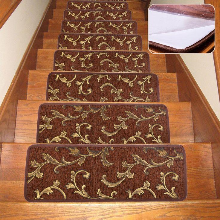 Dark Brown Slip Proof Stair Tread : Best ideas about stair tread rugs on pinterest carpet