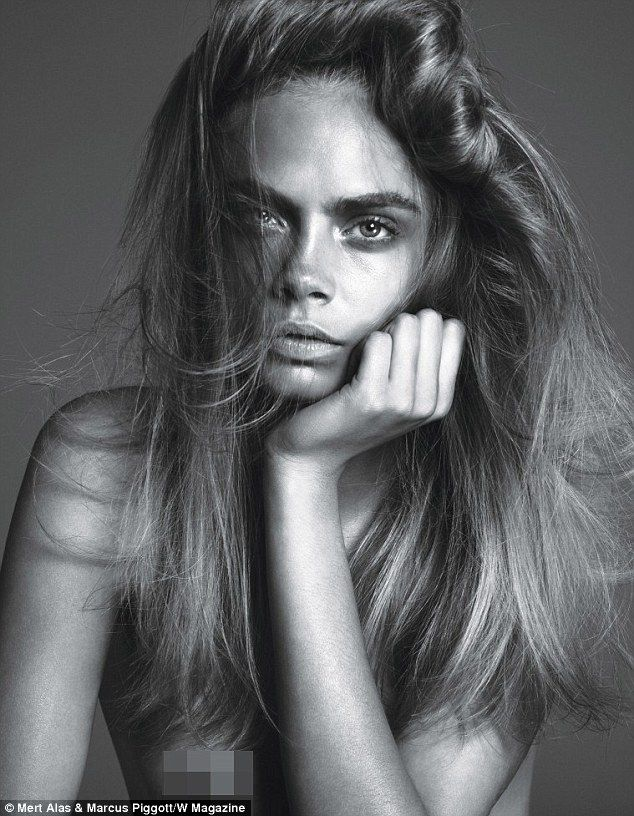 The Anti-Role Model: Cara Delevingne poses topless for the new issue of W magazine. Love the raw black and white + messy hair.