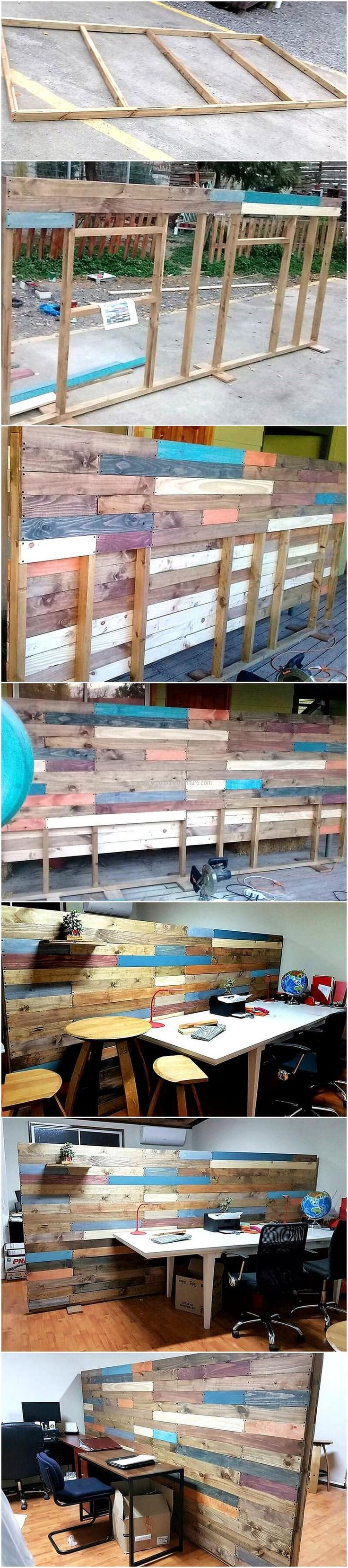 We are starting with an idea that is great to copy for home as well as for the office separation need. This wood pallet room divider and décor idea will work perfect if it is copied for the separation of employee's space in an office.