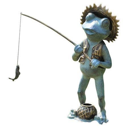 Fishing Frog Garden Sculpture