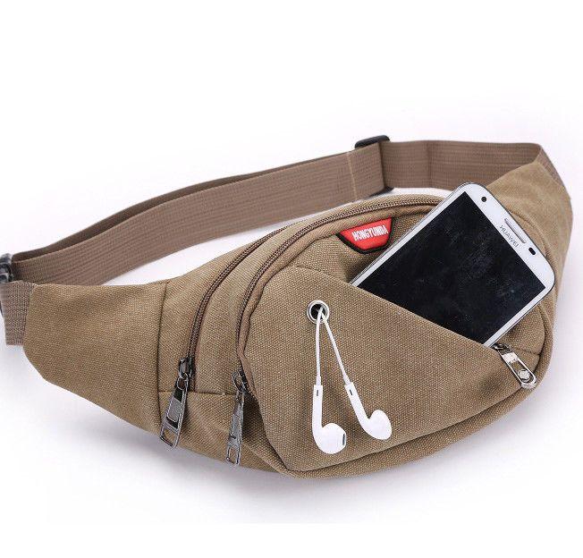 650a433c9c9a Canvas Mens Travel Waist Bag Fanny Pack Waist Pack Phone Pouch Belt ...