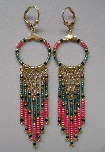 Seed Bead Chain Hoop Earrrings  Teal Green/Coral by pattimacs, $18.50