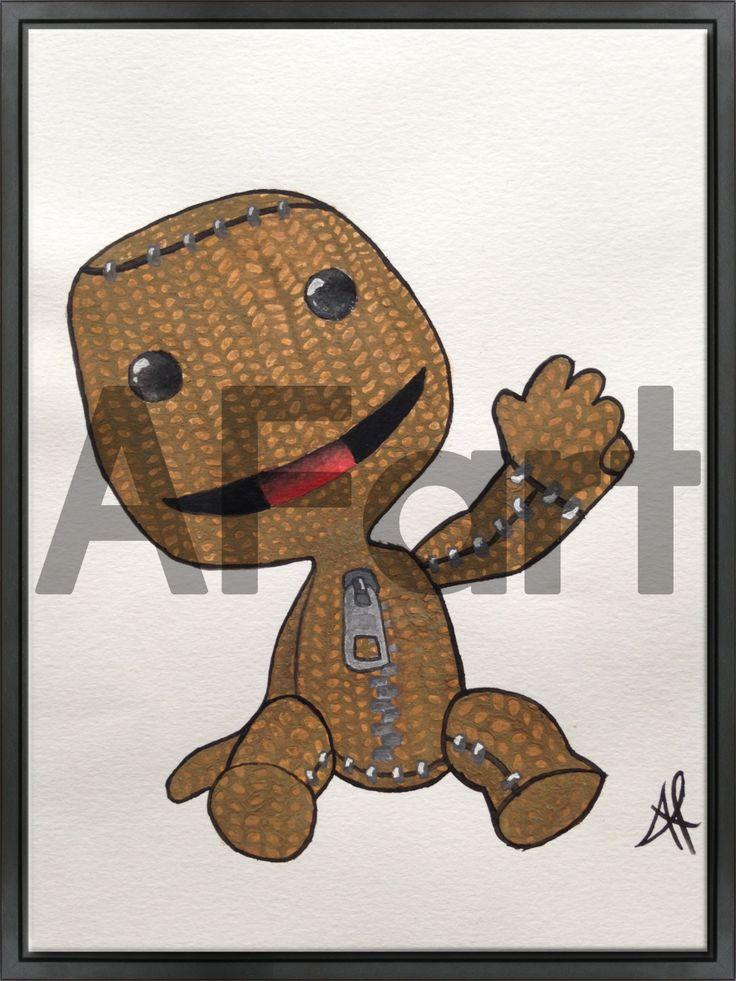 • LittleBigPlanet • Drawing. Arte, art, disegno, drawing, draw, painting, paint, grafica, graphic, little, big, planet, pianeta, pennello, orso, dolce, sorriso, morbido, peluche, saluto, mano, tvb, cerniera, occhi, bottoni, cucitura, uncinetto