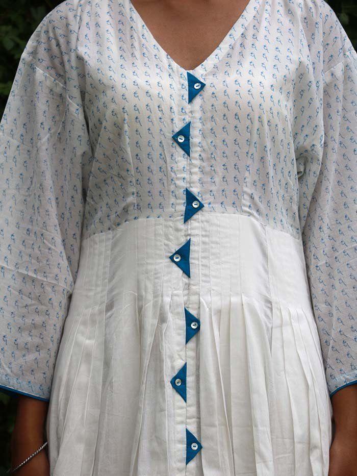 White Cotton Pleated Dress