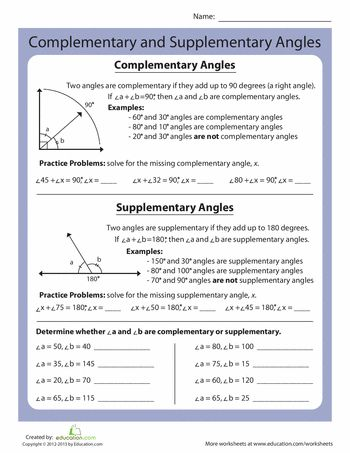 Worksheets: Complementary and Supplementary Angles