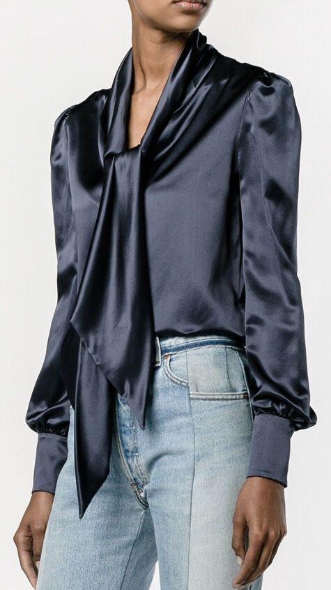 9d74b54c62c68e Pin by C mee on Beautiful Sexy Satin in 2019 | Blouse, Blouse designs, Bow  blouse