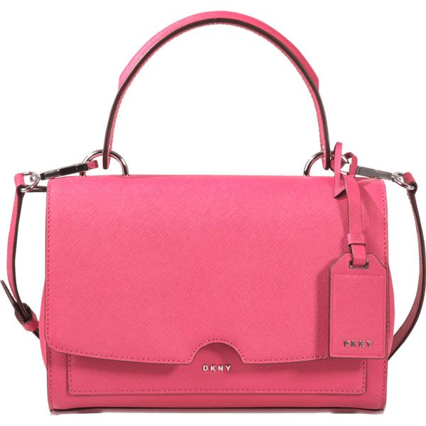 DKNY Bryant Park small flap top handle satchel ($255) ❤ liked on Polyvore featuring bags, handbags, pink, pink handbags, pink purse, flap bag, dkny handbags and pink bag