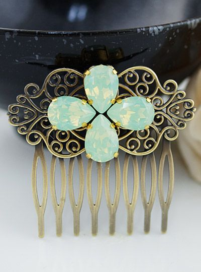Bridal Wedding Hair comb for Mint weddings from EarringsNation