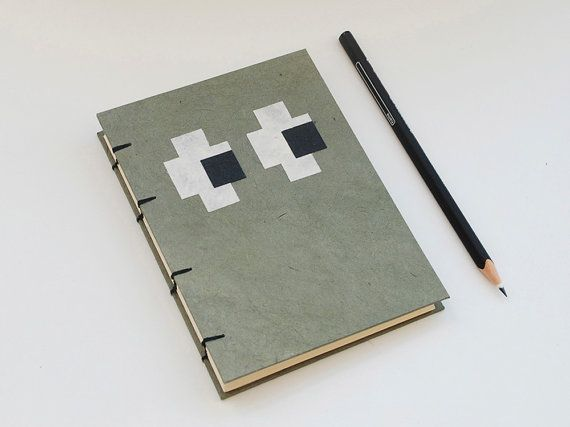 Eyes handmade coptic stitched notebook Olive Green by PiCKEE, €13.90