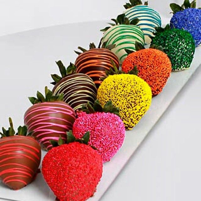 Rainbow Chocolate Covered Strawberries Mondaymust By