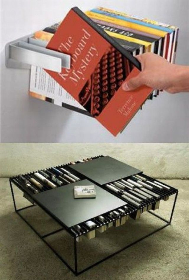 Nifty book storage! The table is the coolest.