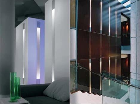 Dolma: columna de luz empotrada en la pared. Dolma es una columna luminosa, que está hecha con un perfil de aluminio, listo para empotrar en paredes o techos. En su interior hay lámparas led, o de descarga de alta presión. Su acabado es en aluminio natural anodizado, y las luminarias están pintadas al polvo en gris plata o blanco. Hay modelos de 80mm de anchura, de 145mm, y también para instalar en exteriores.  #Iluminación