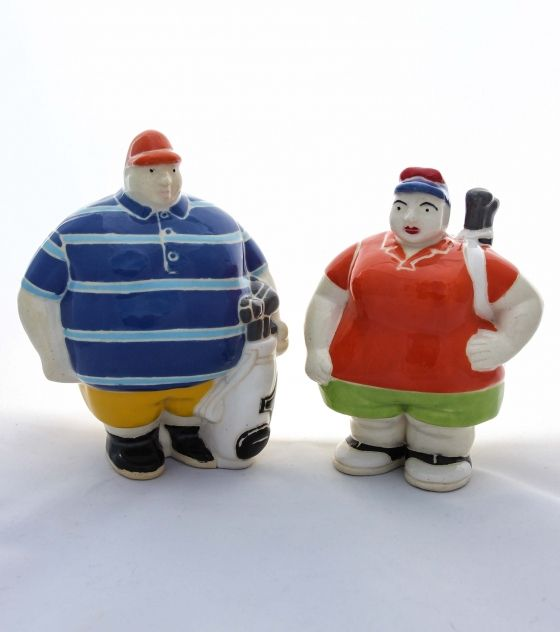 Mr. & Mrs. Golfer - Potbelly Handmade Ceramic Figurine. Buy them from Wave2Africa - an online gift and decor boutique.