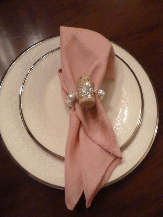 Pearls and Bling Bridal Napkin Rings by TheBeadedCork on Etsy, $20.00