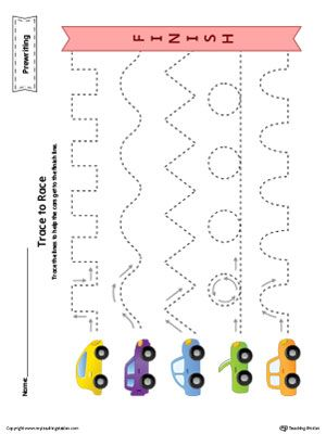 **FREE** Prewriting Line Tracing to Race Worksheet in Color Worksheet.Trace the…