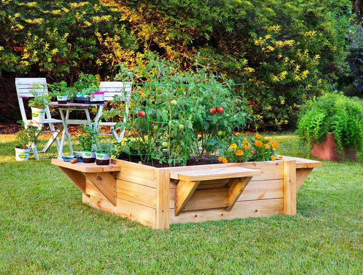 This half-day project makes gardening easier and more comfortable. It's higher than most raised beds, so you don't have to bend over quite as much, plus it has a bench on each side so you can sit while you plant, weed, and harvest. Here are the plans....  http://bonnieplants.com/library/build-raised-bed-with-benches/