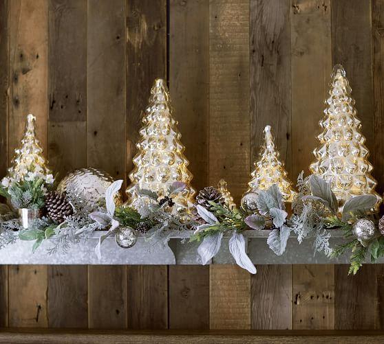 Mercury Glass Trees Christmas Decorations Silver
