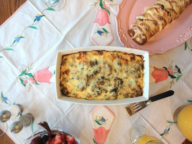 Blissful Baking: Cheesy Sausage Spinach Breakfast Bake