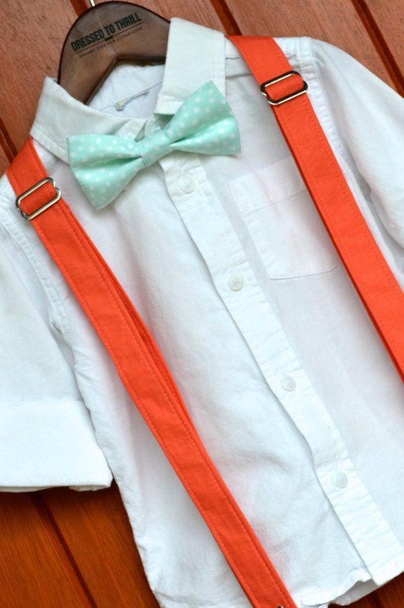 Childs Bowtie and Suspenders, Solid Coral Suspenders, Mint Bowtie, mint bow tie set, little boy mint bowtie, toddler mint bowtie, Easter