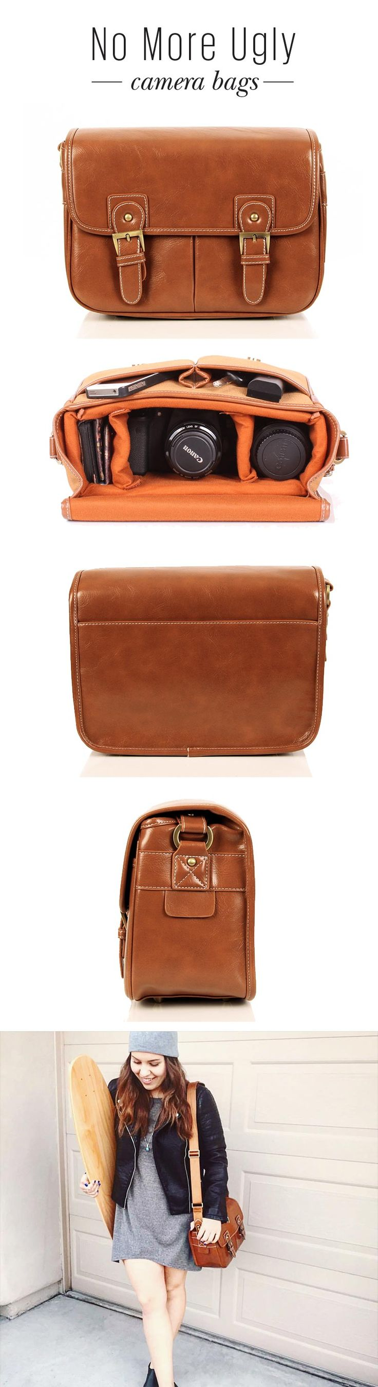 Vintage style leather look camera bag. A stylish camera bag that will protect your DSLR camera and fit your personal junk when you travel. Perfect for: the casual photographer, the traveller or the fashion conscious. No more leaving your DSLR behind, and no more ugly camera bags.