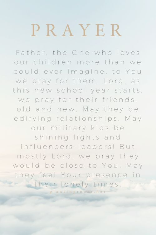 Sunday Prayer  Heavenly Father, the One who loves our children more than we could ever imagine, to You we pray for them. Lord, as this new school year starts, we pray for their friends, old and new. May they be … http://www.plantingroots.net/sunday-prayer-4/?utm_campaign=coschedule&utm_source=pinterest&utm_medium=Planting%20Roots&utm_content=Sunday%20Prayer