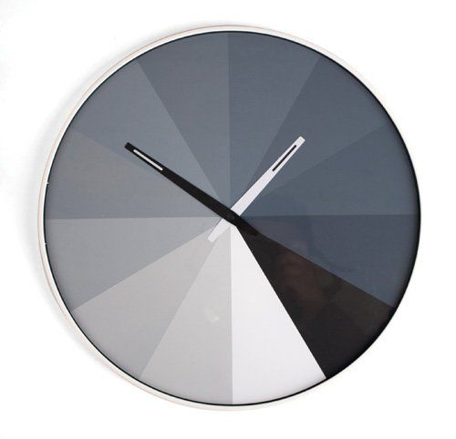 Kikkerland CL23 Ultra Flat Wall Clock, Grayscale